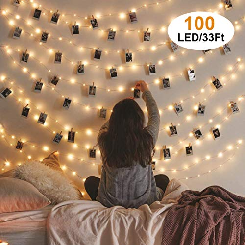 VENNKE Photo Clips String Light 33Feet - 100 LED Waterproof Fairy String Lights with 50 Clear Clips, 8 Modes Battery and USB Powered with Cable for Party Christmas Home Decor, Warm White
