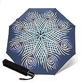 Paraguas plegable automático de tres pliegues con diseño de plumas de pavo real y mandala. Paraguas compacto ligero para el sol y la lluvia