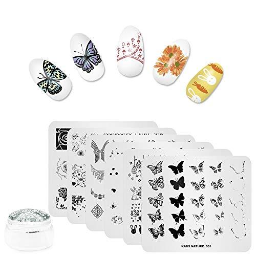 6pcs Nail Art Stamping Plaques Set Fleur Papillon Collier De Pâques Conception Multi-Motifs Estampage Image Modèle Pochoir avec 1 Pc Plat Polish Stamper