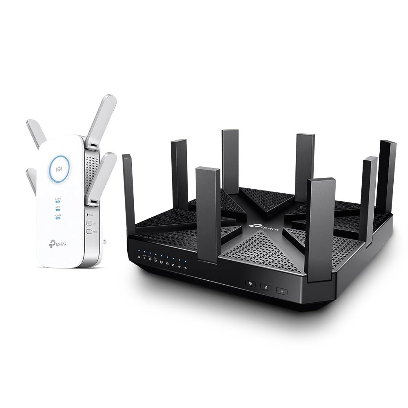 TP-Link WIFI 無線LAN ルーター Archer C5400 + 無線LAN 中継器 R650 セット (11ac/n/a/g/b ルーター: 2167+2167+1000Mbps, 中継器:1733+800Mbps)