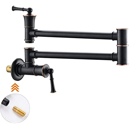WOWOW Wall Mount Pot Filler Faucet Oil Rubbed Bronze Folding Swing Arm Kitchen Faucets Lead-free Commercial Stretchable Single Hole Two Handles Faucet