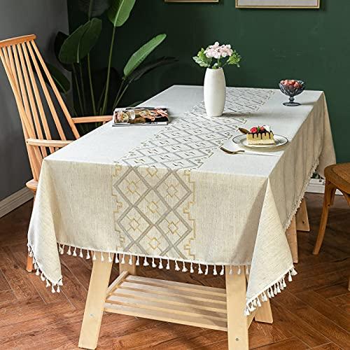 Mantel A Rayas Azul Verde Rosa Mantel Estampado Rombo Borla Rectangular Lavable Mantel Termoaislante Y Resistente A La Temperatura Adecuado para Fiestas Y Hogar