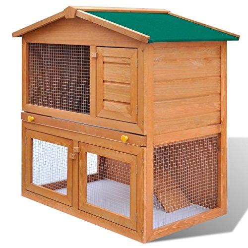 Festnight Conejera de Mascotas con 3 Puertas Juala de Madera para los Animales Pequeños Conejera De Exterior 93 x 60 x 97 cm