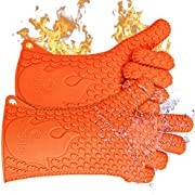 Jolly Green Products Highest Rated Heat Resistant Silicone BBQ Gloves - The Original - 3 Sizes Available