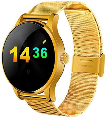 hwbq Reloj inteligente deportivo SMS Push y llamada Bluetooth con esfera redonda dorada.