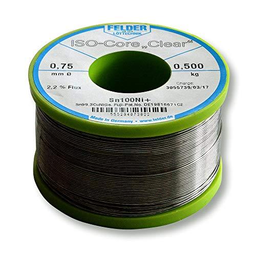 Felder FCL070500Ni+ Lötzinn ISO-Core Lötdraht Clear Sn100Ni+ Sn99,3CuNiGe 0,7 mm auf 500 g Spule