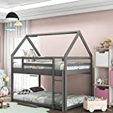 House Shaped Bunk Bed Twin Over Twin Size Wood Bunk Bed Frame Low Bunk Beds for Kids and Toddlers, Twin Size,Grey