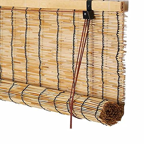 LXUXZ Bamboo Rollo Side Zugrollo,Estores Enrollables Romanas Retro,Privacidad Partición Translúcido para El Hogar Y El Jardín Fácil de Instalar 39x41inch