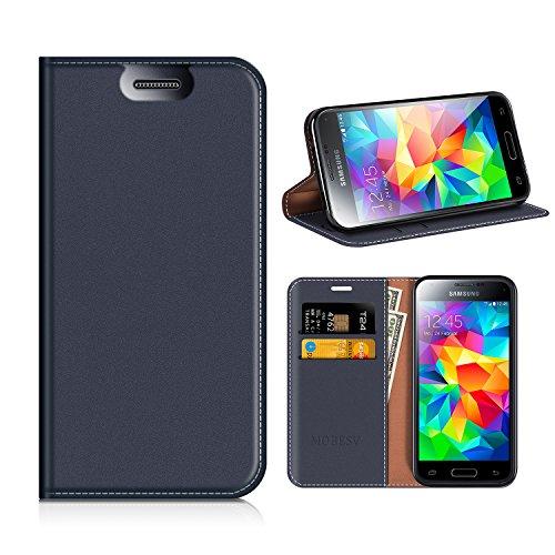 MOBESV Custodia in Pelle Samsung Galaxy S5 Mini, Custodia Samsung Galaxy S5 Mini Cover Libro/Portafoglio Porta per Cellulare Samsung Galaxy S5 Mini - Blu Scuro