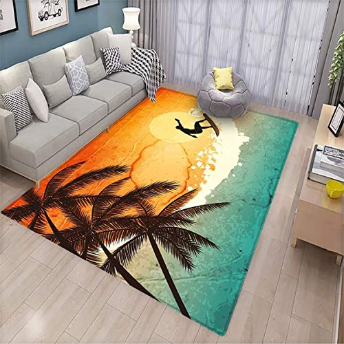 Grunge Indoor Floor mat Illustration of Tropical Island Surfer on Sea Waves and Palms at Sunset Patio Door Floor mat Non-Slip Decoration 5.6'x6.6' Orange Turquoise Black