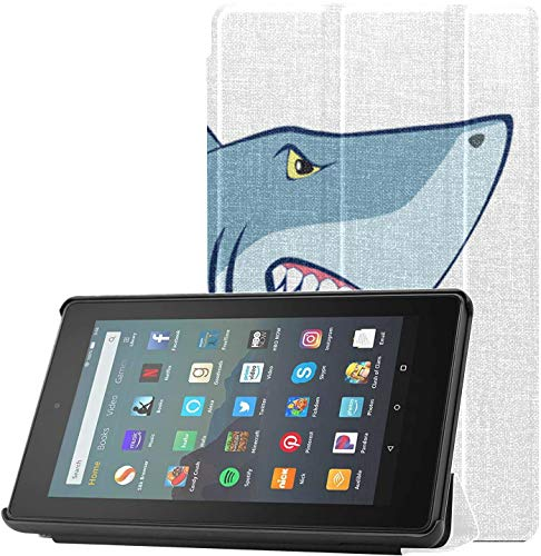 Cover TabletCases Fiercely Changeable Style Shark Fire79thGenerationCaseforGirls for Fire 7 Tablet (9th Generation, 2019 Release) Lightweight with Auto Sleep/Wake