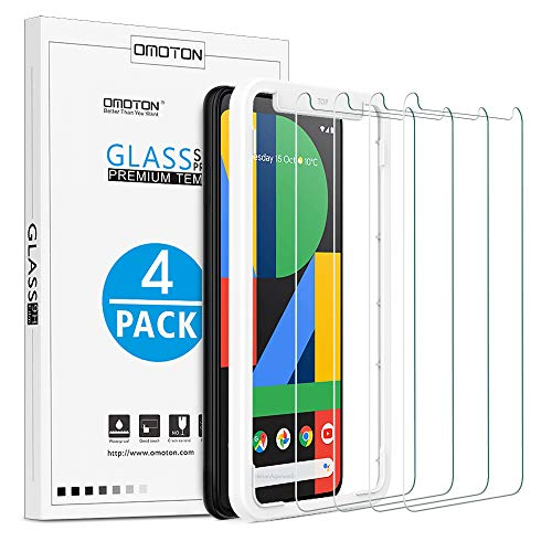 [4 Pack] OMOTON Google Pixel 4 XL Screen Protector, Tempered Glass Screen Protector for Google Pixel 4XL 2019 Released with/Alignment Frame/Scratch Resistant/Bubble Free