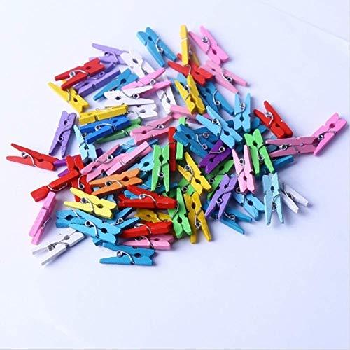 Ogquaton 50 STÜCKE Mini Farbige Holzklammern Natürliche Hölzerne Wäscheklammern Fotopapier Peg Pin Craft Clips Langlebig und Praktisch