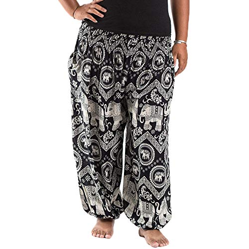 Nuofengkudu Mujer Hombre Hippies Anchos Pantalones Tallas Grandes Estampados Cintura Alta Comodos Gordita Thai Yoga Pants Playa Fiestas Sauna (Negro Elefante,One Size)
