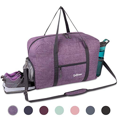 Sports Gym Bag with Wet Pocket & Shoes Compartment, Travel Duffel Bag for Men and Women Lightweight, Purple