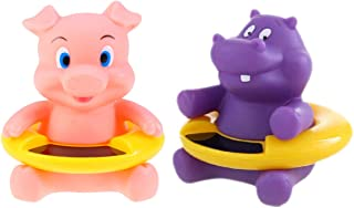 TOYANDONA 2Pcs Floating Bath Thermometer Cute Animal Shaped Tub Thermometer for Bathtub Swimming Pool (Pink Pig + Purple H...
