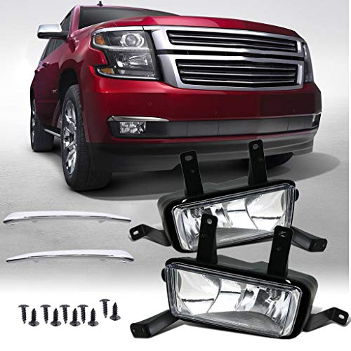 Fog Lights Lamps w/Chrome Trim+Bulbs for 2015-2018 Chevy Suburban/Tahoe