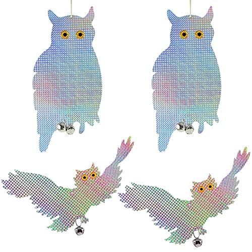 Forreen Búho Repelente de Aves, 4 Piezas Búho Espantapajaros Ahuyentador de Aves Reflectantes Repelentes de Pájaros para Ahuyentar Aves para Proteger Huertos Jardines Patios