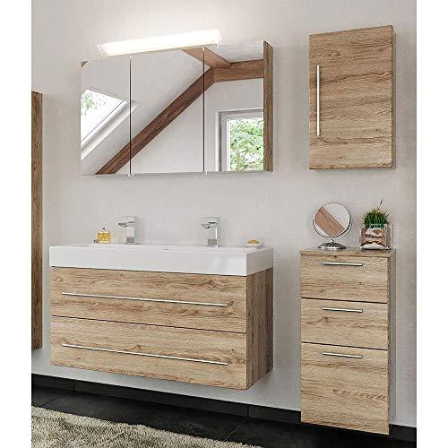 Lomadox Badezimmer Badmöbel Komplett-Set mit Mineralguss Doppel-Waschtisch in Eiche hell & mit LED-Spiegelschrank