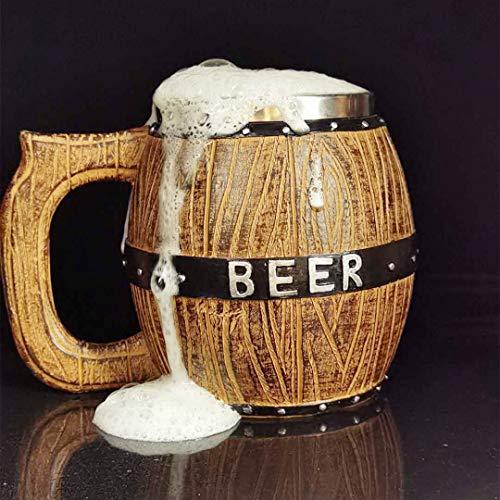 Stainless Steel Beer Stein Mug Handmade Beer Mug Oak Imitation Wood Letter Line Stainless Steel Cup Natural Eco-Friendly Barrel Brown Mug 17 Ounce LINE