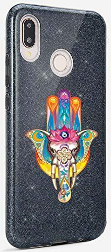 Mixroom - Custodia Cover Case in TPU Morbido con Brillantini Glitter Nero per iPhone 6 Plus Fantasia Hamsa And with Elephant Tatoo codice BR328
