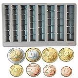 Vassoio Portamonete Contamonete, Divisore Soldi in Plastica, con 8 Settori Raccoglitore Euro