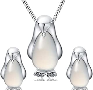 Platinum Plated 925 Sterling Silver Opal Penguin Pendant Necklace and Earrings Set with Curb Chain 18In for Women Girls