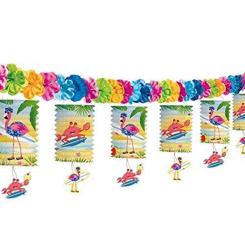 cama24com Flamingo Lampion Laternen Girlande Hula Hawaii Beachparty Sommerparty Deko mit Palandi® Sticker