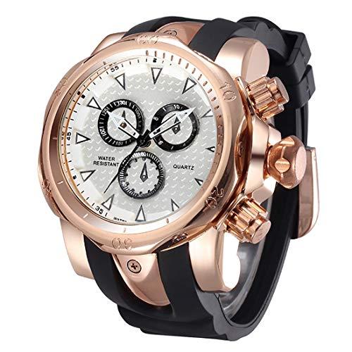 Reloj Digital Deportivo, Reloj de Cuero, Reloj de Cuarzo Resistente a los choques, Reloj, Relojes de Moda, Relojes para Hombre de Negocios con Caja de Goma y Funda de aleación (Color : Black Gold)