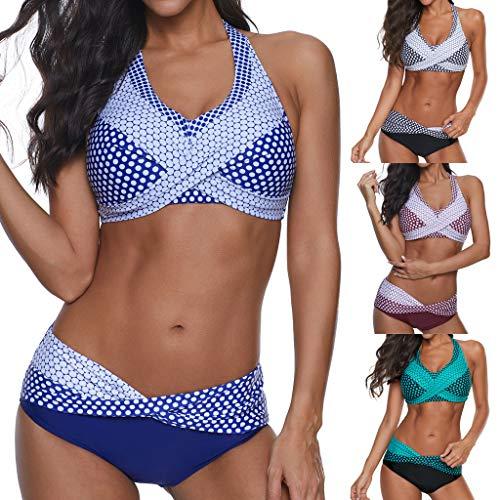 MERICAL Frauen gepolstert Push-up Bikini Set Halfter zweiteilig Cross Top Badeanzug Patchwork Badeanzug Monokini