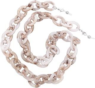 KAI Top Handmade Retro Tortoise Shell Eyeglass Chain, Acetate Chain Link Chunky Reading Glasses Holder Necklace