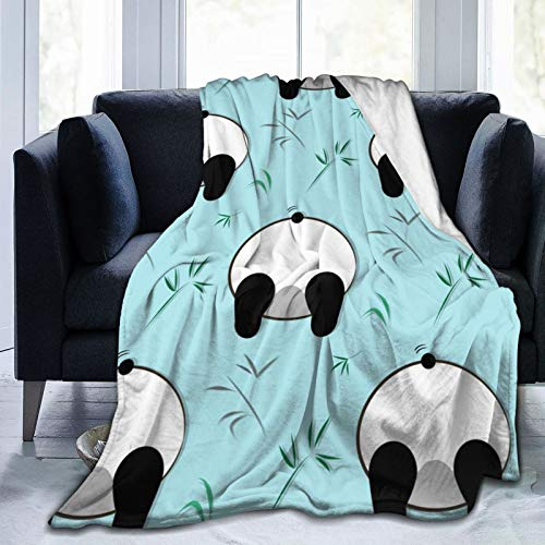 Divertido patrón de panda blanco oso negro suave manta de lana manta acogedora cálida manta de felpa para sofá/cama/sofá