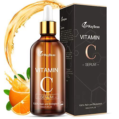 Vitamin C Serum MayBeau 100ml AntiAging Vegan Hyaluronsäure + Vitamin C + Vitamin E + Vitamin A Gesichtsserum für Gesicht und Haut Anti Falten Anti Pickelmale dunkle Kreise Feuchtigkeitspflege