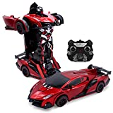 Kids RC Toy Car Transforming Robot Fiery Demon One Button Transformation Engine Sound