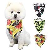 Elinala Bandanas para Perros, TriÁngulo de Mascota Baberos, 3 Piezas Bonita Bufanda Triangular Ajustable para Gatos y Perros, Adecuada para Mascotas Pequeñas y Medianas (S)