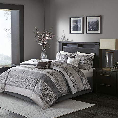 Madison Park Luxury Comforter Set-Traditional Jacquard Design All Season Down Alternative Bedding, Matching Bedskirt, Decorative Pillows, Cal King(104u0022x92u0022), Grey/Taupe 7 Piece