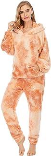 LFANH - Pijama de forro polar para mujer, súper suave, cómodo, de manga larga, cálido invierno y pantalones de pijama conjunto, naranja amarillo, XL
