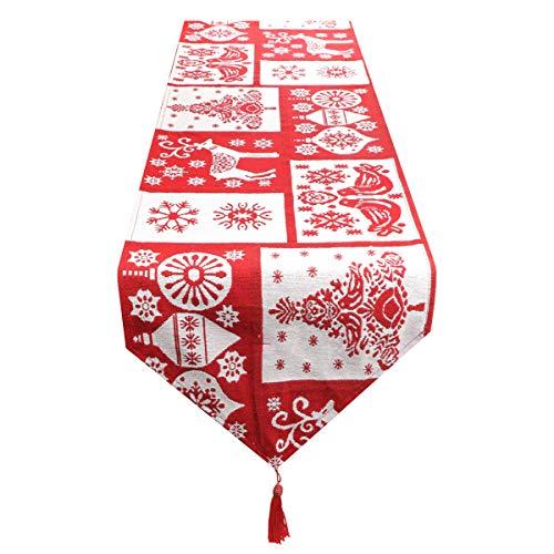 Fangoo Camino de Mesa de Navidad, Camino de Mesa de búfalo de Navidad para decoración de Mesa de Navidad Decoración de Fiesta temática navideña Cenas Familiares de Temporada Uso Diario.35 cm x 180 cm