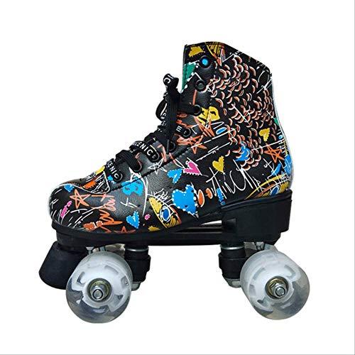 STBB Rollschuhe Graffiti Microfiber Rollschuhe Doppel Linie Skates Frauen Männer Erwachsene Zwei Linie Skating Schuhe Patinen Mit Weißen Rädern 43 Schwarz