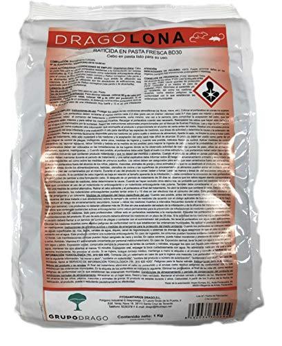 DRAGOLONA Raticida Profesional para Exteriores contra Ratas y Ratones Rojo Cebo Fresco anticoagulante de acción rápida 1 kg