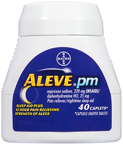 Aleve PM Caplets, Naproxen Sodium 220 mg (NSAID)/diphenhydramine HCl 25 mg, Pain Reliever/Nighttime Sleep-Aid, Non-Habit Forming, 40 Count