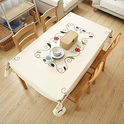 HTUO Tablecloth Christmas Decoration Embroidery Tablecloth Washable Table Cover Dining Table Waterproof Oil Proof Coffee Table Pastoral Tablecloth Cover Towel Square Table Round Tablecloth 110*110cm