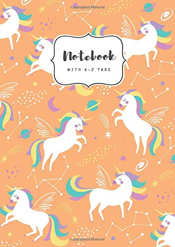 Notebook with A-Z Tabs: A5 Medium Lined Journal | Alphabetical Indexes | Star Zodiac Unicorn Design Orange