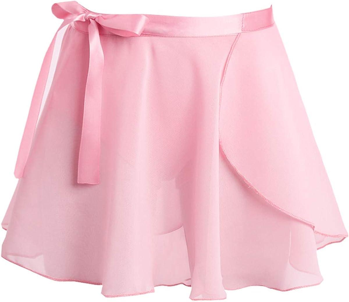 renvena Kids Girls Classic Chiffon Mini Pull-On Wrap Skirts with Waist Tie Ballet Dance Gymnastic Dancewear
