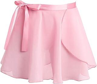 inlzdz Mädchen Chiffon Ballettrock Wickelrock Tanzrock Minirock Kinder Wrap Skirt Ballettröckchen Tanzkleidung Gymnastikanzug Gr.104-152