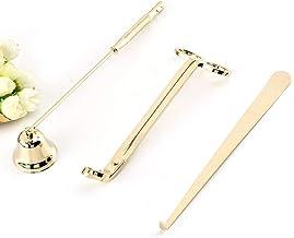 مجموعة من 3 قطع من الفولاذ المقاوم للصدأ لشمعة سنافر للتزيين، مزودة بخطاطيف ومقصّة (ذهبي)