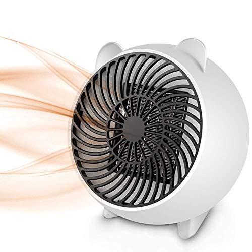 FANMURAN Mini Ventilador Eléctrico Portátil Mini Calentador de Espacio Personal con Calefacción de cerámica PTC para Oficina, Hogar, Mesa del Escritorio (Blanco)