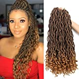 Goddess Faux Locs Crochet Hair Wavy 20 Inch with Curly Ends Blonde Ombre 6Packs/Lot Pre Looped African Roots Crochet Braids Curly Hair (1B/27#)
