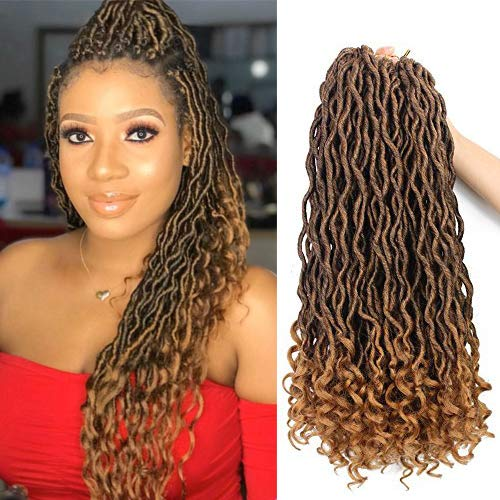 Goddess Faux Locs Crochet Hair Wavy 18 Inch with Curly Ends Blonde Ombre 6Packs/Lot Pre Looped African Roots Crochet Braids Curly Hair (1B/27#)