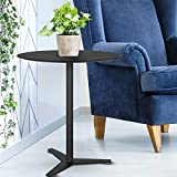Tomile Small Round End Table, Modern Sofa Coffee Table, ABS Black Side Table for Small Spaces, Accent Couch Table with Pedestal